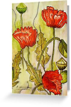 Poppies on paper by artist Angela Gannicott.  This beautiful watercolor and ink painting was produced on paper.  Great greeting card.