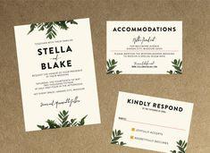 Modern Botanical Greenery Wedding Invitation // DIY Printable Files // Minimalistic Invitation, Garden Invitation