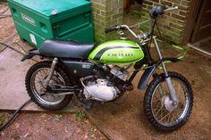 My first motorcycle :) 1974 Kawasaki 90 Kawasaki Cafe Racer, Kawasaki Motorcycles, Old Bikes, Dirt Bikes, Vintage Bikes, Vintage Motorcycles, Bike Rider, Classic Bikes, Mini Bike
