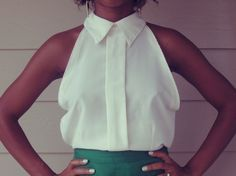 diy sleeveless collared white blouse