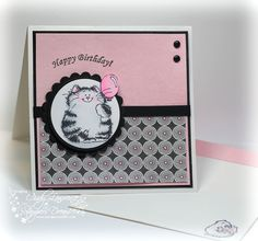 Penny Black - It's Your Day Cat stamped & colored with copics. LOVE LOVE LOVE this color scheme!! The layout is perfect, and the matching envelope is adorable!