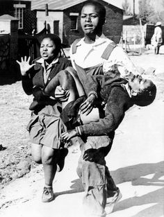 Umbiswa Makhubo carries the body of Hector Pieterson, photographed by Sam Nzima.