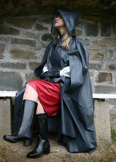Grey Rubber Hooded Cape