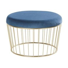 Midnight Blue Velvet and Gold Metal Stool on Maisons du Monde. Take your pick from our furniture and accessories and be inspired!