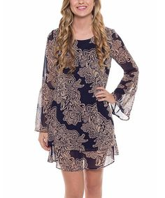 Look what I found on #zulily! Navy & Tan Floral Lace-Up Shift Dress #zulilyfinds