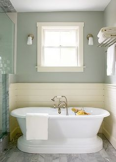 Cool look for a small bathroom.