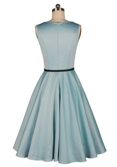 Audrey Hepburn Boat Neck Plain 1950s Vintage Blue Party/Prom Dresses - back