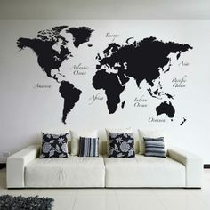 Black World Map Wall Decal by Brewster Home Fashions on