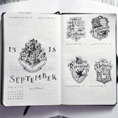 Raise your hand if you are obsessed with both Harry Potter and Bullet Journals? Read this for the best Harry Potter Bullet Journal Layout and Spread ideas! Bullet Journal Period Tracker, Bullet Journal Cover Ideas, Bullet Journal Hacks, Bullet Journal Spread, Bullet Journal Layout, Journal Covers, Bullet Journal Inspiration, Journal Pages, Bullet Journals