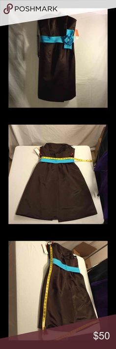 Eden Bridesmaids/Bridal Formal Dress 8 NWT Eden Bridesmaid Collection  Brown with turquoise blue band ribbon  Detachable spaghetti Strap  100% Polyester  Dry clean  Original Price $158 eden Dresses Midi