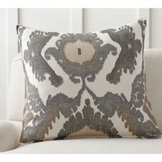 Pottery Barn Hudson Ikat Pillow Cover (93 CAD) ❤ liked on Polyvore featuring home, home decor, throw pillows, cream throw pillows, ikat home decor, ikat throw pillows, pottery barn throw pillows and embroidered throw pillows