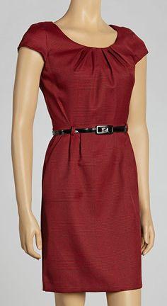 Crimson Cap-Sleeve Dress