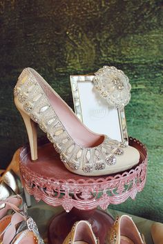 4f16be95bb9 Claire Pettibone and Emmy Shoes  A Touch of Wedding Heaven At  The Castle