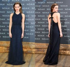 "Emma Watson. At the Berlin debut of her biblical epic ""Noah,"" Emma showed up in a stunning, floor-length Wes Gordon dress"