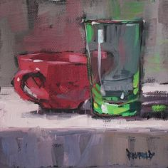 Retro Cups, painting by artist Cathleen Rehfeld