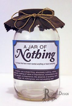 JAR OF NOTHING printable Great gag gift or perfect by RootsDesignYou can find Gag gifts and more on our website.JAR OF NOTHING printable Great gag gift or perfect. Diy Gag Gifts, Silly Gifts, Prank Gifts, Joke Gifts, Homemade Gifts, Funny Gifts, Random Gifts, Great Gifts, Homemade Christmas