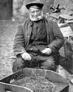 Old photograph of a fisherman in St Monans, East Neuk of Fife, Scotland