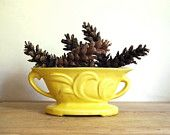 "We were featured in ""Rustic Sunshine"" on Etsy! //     Pictured: Vintage Planter Yellow Windowsill Planter with Handles Mid Century Pottery Home Decor"