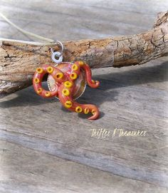 Orange Polymer Clay Escaping Tentacles Pendant Necklace