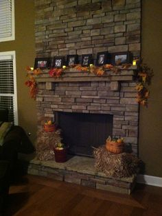 Decorated fireplace for fall