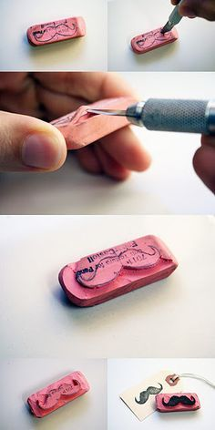 How to make your own mustache stamp. Or any kind of stamp. Be creative with different patterns! Erasers are cheap at the Dollar store! Cute Crafts, Crafts To Do, Crafts For Kids, Arts And Crafts, Diy Crafts, Diy Projects To Try, Craft Projects, Craft Ideas, Make Your Own Stamp