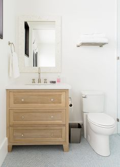 Cabinet size for P's Bath Light+Blue+Penny+Tile+and+Bleach+Oak+Vanity+--+Studio+McGee. Studio Mcgee, Bathroom Wall Decals, Bathroom Flooring, Bathroom Stickers, Bad Inspiration, Bathroom Inspiration, Blue Penny Tile, Modern Mountain Home, Mountain Homes