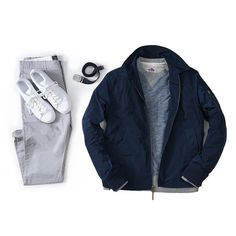 Essentials by grayers Grey Chinos, Outfits Hombre, Mens Attire, Outfit Grid, Spring Looks, Blue Tops, French Terry, Style Guides, Winter Outfits
