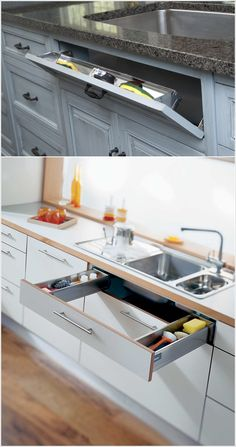 Talk about a smart use of space under the sink with a drawer! Great Kitchen idea.