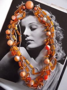 Vintage 1960s Necklace Mod Orange Plastic Beads Silver Tone Chains Costume Jewelry via Etsy