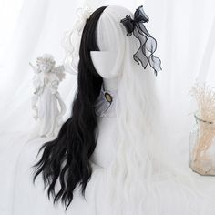 Cosplay Hair, Cosplay Outfits, Cosplay Wigs, Black Cosplay Wig, Black And White Wig, Long White Hair, Long Black, Red Black, Color Black
