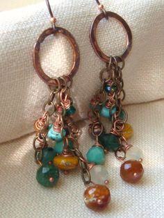 Beaded Cluster Gemstone Earrings Turquoise by TamiLopezDesigns, $33.00