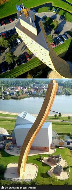 The worlds tallest free standing climbing wall. Groningen, The Netherlands