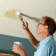 A pro home painter shares his picks for the best ceiling paint, tips for painting smooth and textured ceilings, with equipment selections. Textured Ceiling Paint, Best Ceiling Paint, Ceiling Texture, Colored Ceiling, Ceiling Paint Ideas, Painting Ceilings Tips, Ceiling Painting, Painting Tips, House Painting