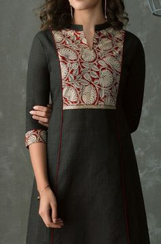 44 Kurta neck designs- kurta patterns Churidhar Neck Designs, Kurtha Designs, Neck Designs For Suits, Neckline Designs, Fancy Blouse Designs, Dress Neck Designs, Designs For Dresses, Salwar Designs, Kurta Designs Women