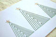 Christmas Trees Holiday Card - Embroidered Christmas Card, via Etsy.
