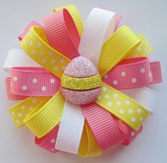 Pink & Yellow Easter Egg Loopy Hair Bow - Pink, Yellow and White Polka-Dots - Cute Easter Gift Idea