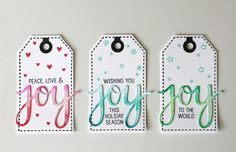 by Kelly Rasmussen - using Hero Arts Peace + Joy stamp set and Joy Stamp + Cut. Colored with Zig Clean Color Real Brush Markers