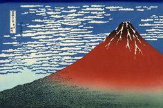 A gravura Fuji Vermelho da série Hokusai, Trinta e seis vistas do monte Fuji. Red Fuji southern wind clear morning - Katsushika Hokusai – Wikipédia, a enciclopédia livre