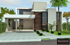 House Front Design, Small House Design, Dream Home Design, Modern House Design, Modern Exterior, Exterior Design, Residential Architecture, Modern Architecture, Independent House
