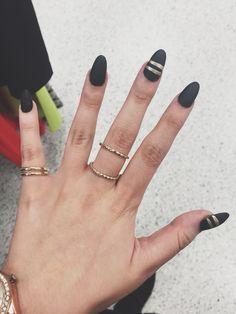 Matte black almond nails