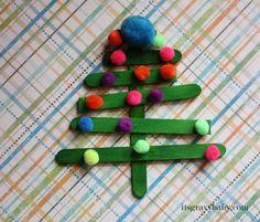 Popsicle Stick Christmas Trees - Preschool Craft - It's Gravy, Baby!