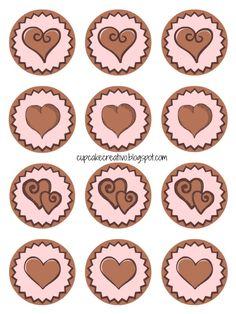 Cupcake Creativo: Imprimibles: Toppers para Cupcakes (Corazones)