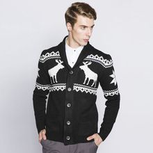 Mens Cardigans Autumn Winter Christmas Sweater Men slim fit Turn-Down Collar Deer Graphic Knitted Cardigan Sweater Knitwear coat(China (Mainland))