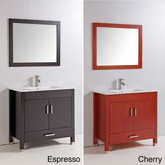 @Overstock.com - Ceramic Top 36-inch Single Sink Bathroom Vanity with Mirror and Faucet - This bathroom vanity set features a mirror as well as a faucet and drain. Composed of solid oak and ceramic, the set is available in an espresso or cherry finish.  http://www.overstock.com/Home-Garden/Ceramic-Top-36-inch-Single-Sink-Bathroom-Vanity-with-Mirror-and-Faucet/7645658/product.html?CID=214117 $715.99