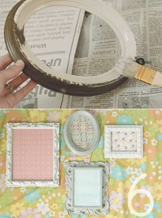 DIY: painted vintage frames - going thrifting to buy some frames and use this technique to frame my prints.  so excited!!!