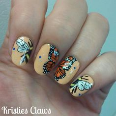 Hand painted Butterfly/bee nails @kristies_claws