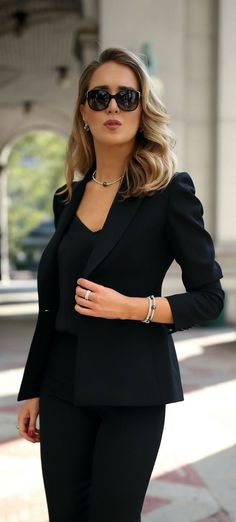 Day To Night With Lagos // Satin-trimmed blazer, black silk camisole, black tuxedo pants, Lagos jewelry {Lagos, day to night, classy dressing}