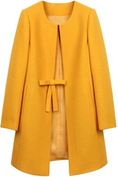 Vintage Style Mustard Yellow Ribbon Bow Belted Pea Coat collarless Jacket | Goodnight Macaroon