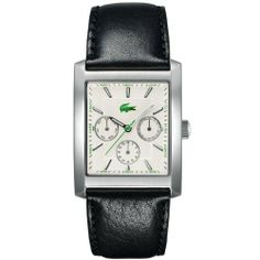 Lacoste Berlin White Dial Black Leather Strap Mens Watch 2010587 Lacoste. $215.00
