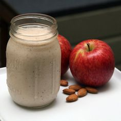 Breakfast Smoothie! 5 raw almonds, 1 red apple, 1 banana, 3/4c greek yogurt, 1/2c non-fat milk, 1/4tsp cinnamon!  Have to try this!